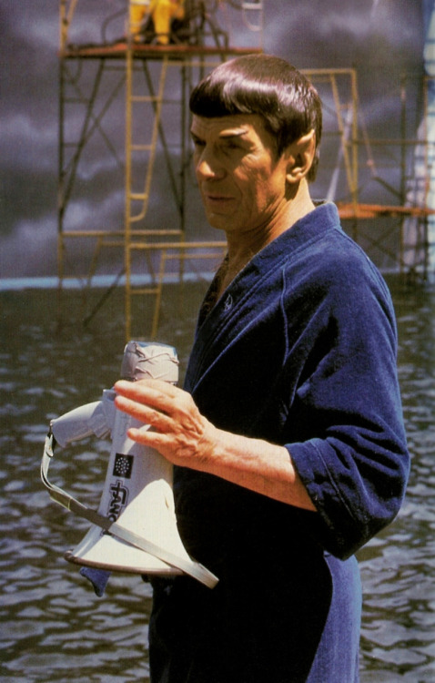 heyoscarwilde:  Leonard Nimoy between scenes on the set of Star Trek 4: The Voyage Home. scanned from the Star Trek:The Official Fan Club newsletter | no publisher listed | 1987