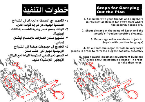 "Strategic Pamphlets for Civil Disobedience in Egypt by Susan Leem, associate producer Alexis Madrigal's latest story for The Atlantic features instruction cards from Egyptian activists translated into English. He describes them as ""primer to Friday's planned protest."" This is one of a 26-page pamphlet."