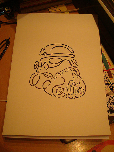 herochan:  One Line Drawing Stormtrooper  - by Napoleón Vuelaenpartes (via:dbsw)  Have you seen this girl? Yes, its Ramona Troopers.