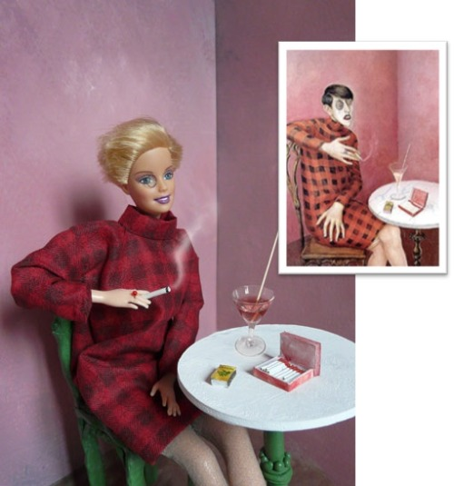 Jocelyne GrivaudBarbie as the Portrait de la journaliste Sylvia von Harden (by Otto Dix) barbiemamuse.com/eng/barbie_ga_ottodix.php