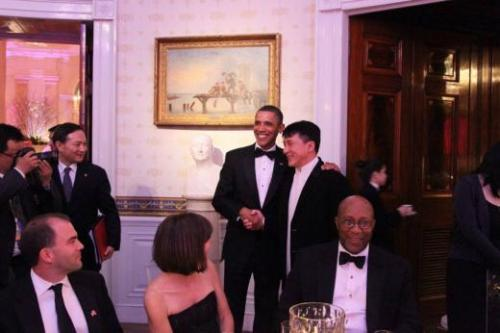 Jackie Chan with President of the United States, Barack Obama. Jan 20, 2011