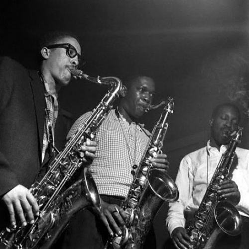 atane:  3 Tenors - Johnny Griffin, John Coltrane and Hank Mobley recording 'A Blowin' Session' in 1957. A superb album. Photo by Francis Wolff  What a lineup.