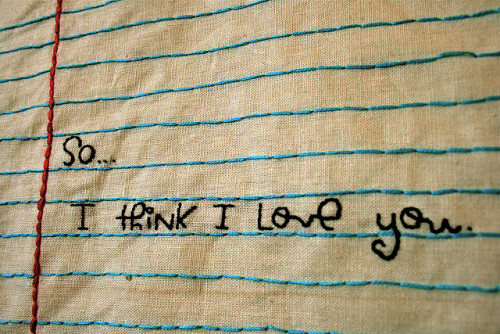 I Think I Love You  stitched paper [embroidery] (by katie haddox)