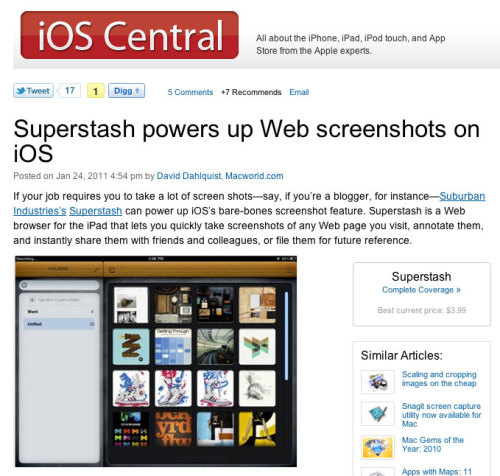Superstash profiled in Macworld this week. Read the review.