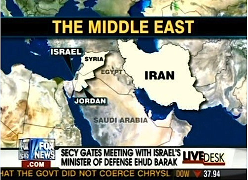 Middle East as shown on Fox 'News'. (thanks @_ckck) Be afraid.