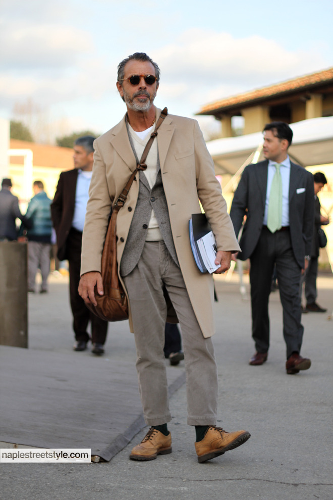 Bruno Cucinelli keep his neutral look appealing with textures & that great leather bag.