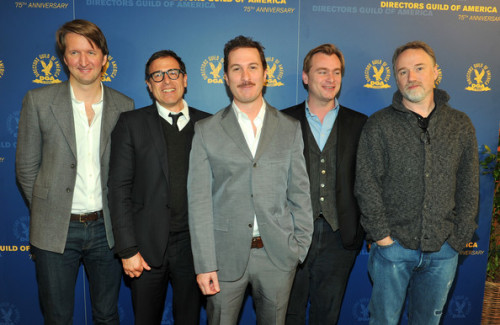 awards-season:  DGA nominees attend the DGA President's Breakfast. Tom Hooper, David O. Russell, Darren Aronofsky, Christopher Nolan and David Fincher.  So much talent in one photo.