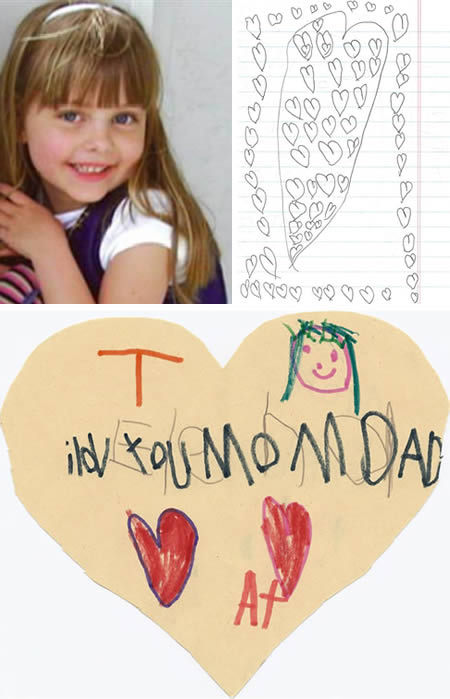 """The six-year-old girl who wanted to leave love letters to her parents"" When 6-year-old Elena Desserich was diagnosed with brain cancer, she began hiding hundreds of little love notes around the house for her parents to find after she was gone. She was given 135 days to live. She lived 255 days, passing away in 2007. After her death, Elena's parents, Brooke and Keith, found hundreds of notes from Elena hidden around the house — in between CD cases, between bookshelves, in dresser drawers, in backpacks. ""It just felt like a little hug from her, like she was telling us she was looking over us"". Elena's parents, Brooke and Keith Desserich, later published these notes in a book called Notes Left Behind to fund a non-profit organization The Cure Starts Now dedicated to fighting pediatric brain cancer."