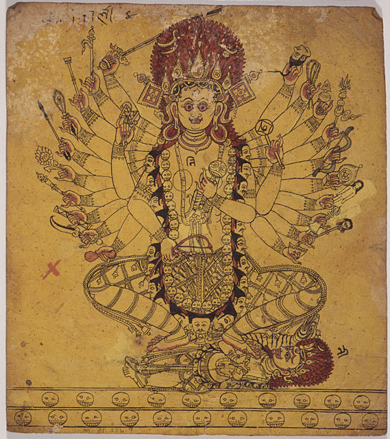 A Tantric Form of the Hindu Goddess Kali, Folio from a Book of Iconography, 17th century, Nepal, HimalayasLos Angeles County Museum of Art