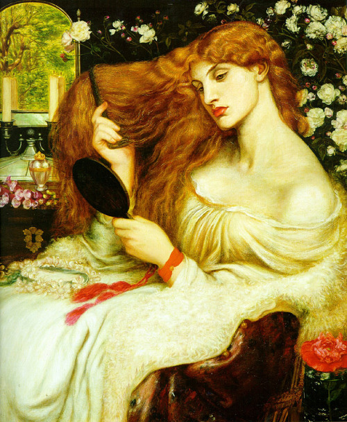 thetranscendentalmodernist:  Lady Lilith - Oil on canvas - Dante Gabriel Rossetti - c. 1868 Of Adam's first wife, Lilith, it is told    (The witch he loved before the gift of Eve.)    That, ere the snake's, her sweet tongue could deceive,And still her enchanted hair was the first gold.And still she sits, young while the earth is old,    And, subtly of herself contemplative,    Draws men to watch the bright web she can weave,Till heart and body and life are in its hold.The rose and poppy are her flowers; for where    Is he not found, O Lilith, whom shed scentAnd soft-shed kisses and soft sleep shall snare?    Lo! as that youth's eyes burned at thine, so went    Thy spell through him, and left his straight neck bent,And round his heart one strangling golden hair.— D. G. Rossetti