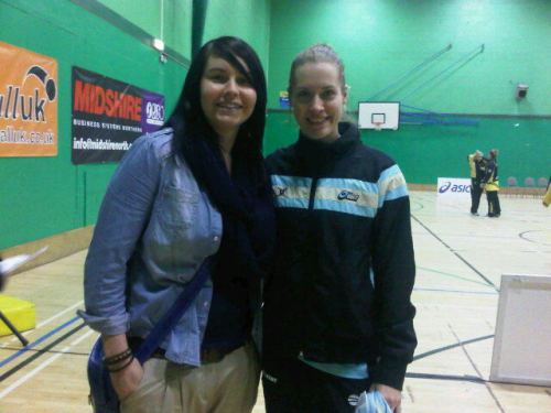 photo: Tasmin Greenway and Surrey fan Nicola Greaves http://yfrog.com/h0a85emj