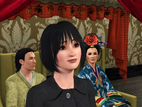 My Ran Fan sim with Ling and Biyu behind her. Biyu's obviously giving her dirty looks. Yes, Fullmetal Alchemist sims. I regret nothing.