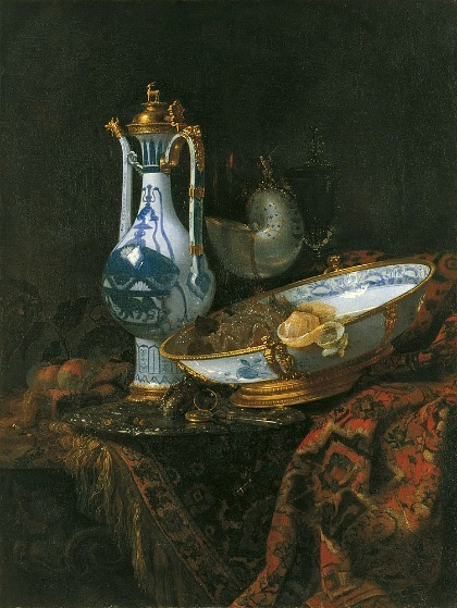 Willem Kalf Still Life with Ewer and Basin, Fruit, Nautilus Cup 1660