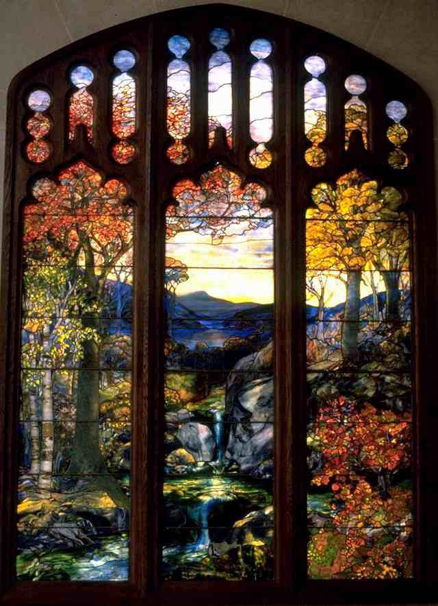 "Art Renewal Center :: Louis Comfort Tiffany :: Autumn Landscape Louis Comfort Tiffany (1848-1933)Autumn LandscapeLeaded Favrile-glass1923-1924259.1 x 335.3 cm(8' 6.01"" x 11')Metropolitan Museum of Art (Manhattan, New York, United States)"