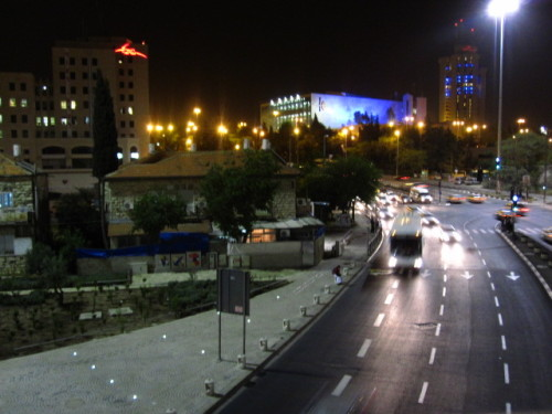 Jerusalem from the bridge in the front of the city on the night of Independence Day.