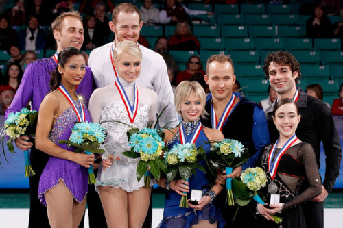 The medalists in the Pairs event at U.S. Nationals. 1. Caitlin Yankowskas and John Coughlin 2. Amanda Evora and Mark Ladwig 3. Caydee Denney and Jeremy Barrett 4. Mary Beth Marley and Rockne Brubaker