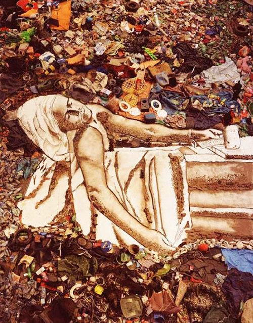 "Vik Muniz Muniz began his career as a sculptor in the late 1980s after relocating from Brazil to Chicago and later to New York. His early work grew out of a post-Fluxus aesthetic and often involved visual puns and jokes. His most famous work from this period is ""Clown Skull"", a human skull augmented w/ a clown-nose shaped protuberance. In 2010, the documentary film Waste Land, directed by Lucy Walker, featured Muniz's work with a group of catadores—self-designated pickers of recyclable materials—on one of the world's largest garbage dumps, Jardim Gramacho, on the outskirts of Rio de Janeiro. The film was nominated to the Academy Award for Best Documentary Feature at the 83rd Academy Awards. Read more on Wikipedia."