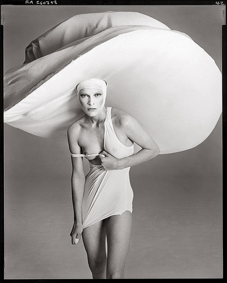 The New Yorker, April 1998Photographer: Richard AvedonModel: Milla JovovichHat & shirt by Yohji Yamamoto