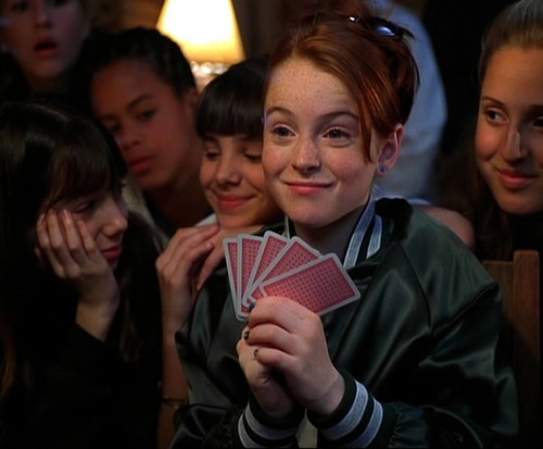 Remember when Lindsay Lohan won that card game with Lindsay Lohan and Lindsay Lohan had to skinny dip in the lake but Lindsay Lohan stole her clothes and Lindsay Lohan was so pissed?     no wonder she's insane now