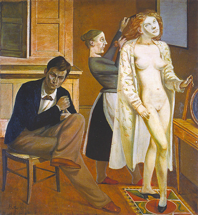 "Balthus, Cathy Dressing ""As to poetry, it enters Balthus's painting in the form of a picture entitled Cathy Dressing, in which the young, desirable body of a woman asserts its dream-like authority over a painting as realistic as Courbet's Studio. Imagine a painter's model suddenly transformed, in real life, into a sphinx, and you will have some idea of the impression made by this painting. A technique from the time of David is placed at the service of a violent, modern  inspiration. And it is truly the inspiration of a unhealthy epoch, in which the artist who conspires with the real, exploits it only in order to crucify it better."" — Antonin Artaud More Balthus."