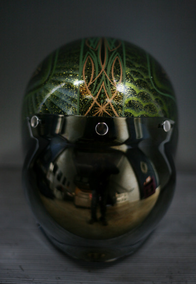 This helmet is epic. Wow, bubble visor AWESOME status.  chrismejia:  transmission77:  Thank you Chris for the Bubble Visor, shits Mad Max status.  HOLY FUCK this photo is ridiculously awesome! I'm glad you like it Viking Brother!!! Happy birthday again.