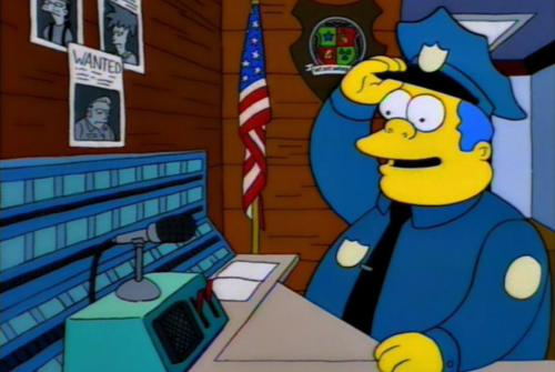 """Hello, police? This is Marge Simpson. My husband is on a murderous rampage! Over.""  ""Whew. Well, thank God that's over. I was worried there for a second."""