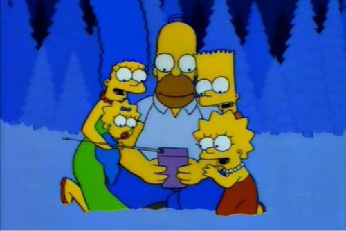Come, family, sit in the snow with daddy and let us all bask in television's warm glowing warming glow.