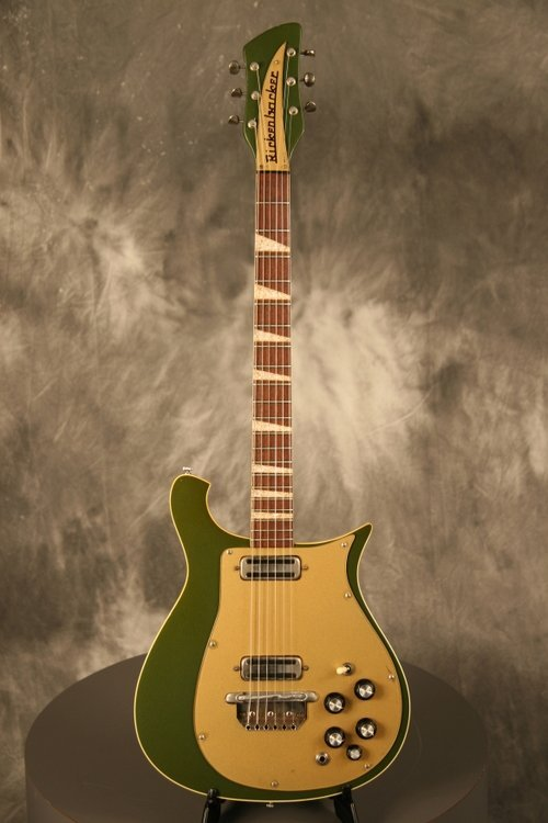 1966 Rickenbacker 460 with a custom green. lovely.