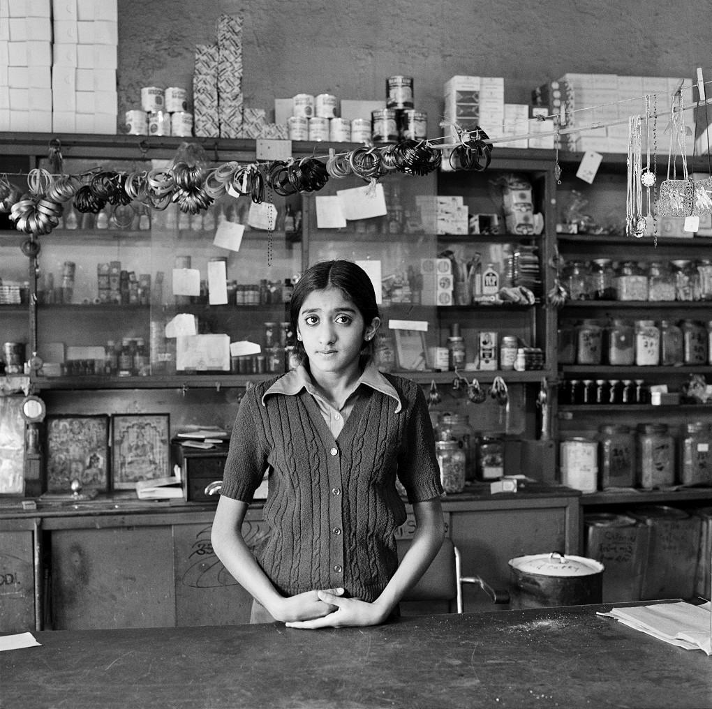 David GoldblattThe Modi's daughter in their shop before its destruction under the Group ActFietas, January 1977