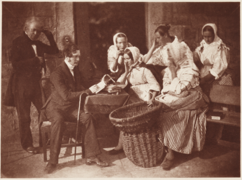 'Fairbairn Reading to the Fishwives', taken by David Octavius Hill and Robert Adamson, in about 1845
