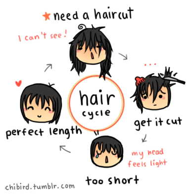 I wish hair stayed the perfect length. xD I apologise if this drawing isn't too great, my tablet settings are funky.