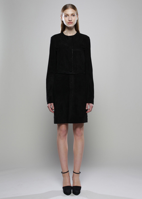 Calvin Klein Pre-Fall 2011. Actually want this suede dress so, so bad. And those shoes.