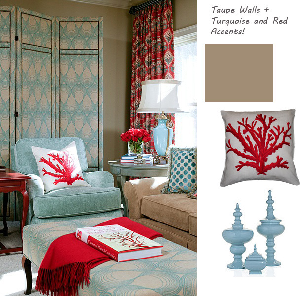 Coral & turquoise living room by Tobi Fairley.
