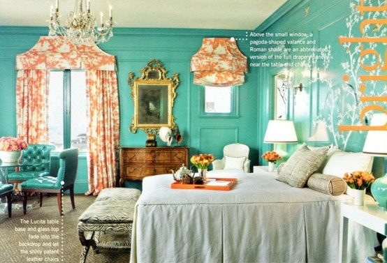 Coral and turquoise bedroom designed by Kendall Wilkinson and shot for Traditional Home. Turquoise and coral has always been one of my favorite color combos.  It is at once calming and invigorating.