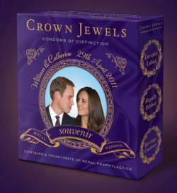 "More Royal Wedding souvenirs. To celebrate the engagement of  William to Kate Middleton, Crown Jewels Condoms of  Distinction has  commissioned a unique heritage edition Royal Wedding  Souvenir. ""Like a royal wedding, intercourse with a loved one is an unforgettable occasion""."