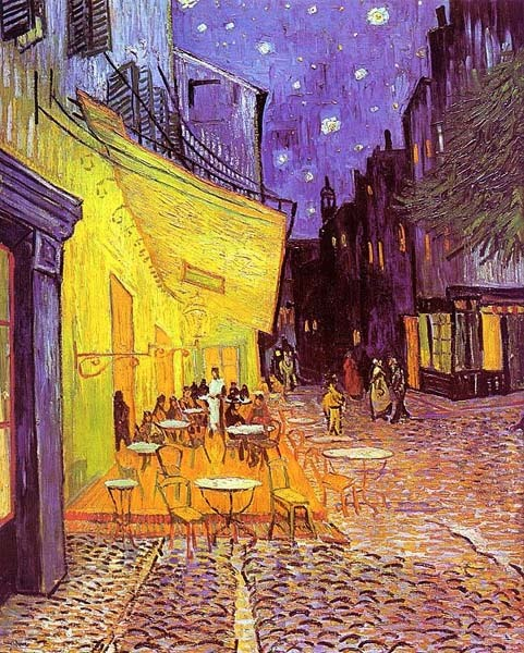 throughart:  Terrasse de café, la nuit, 1888, Vincent van Gogh (1853–1890).