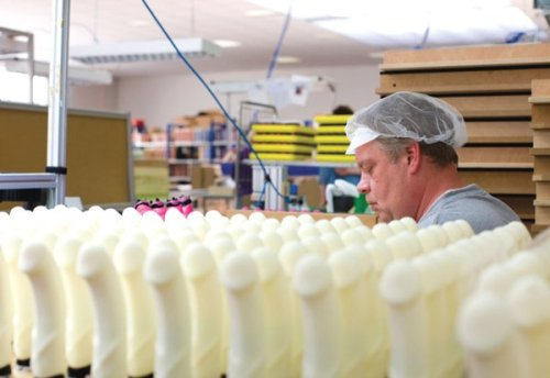 my-cats-are-zombies:    Just another day at the dildo factory.    Priceless
