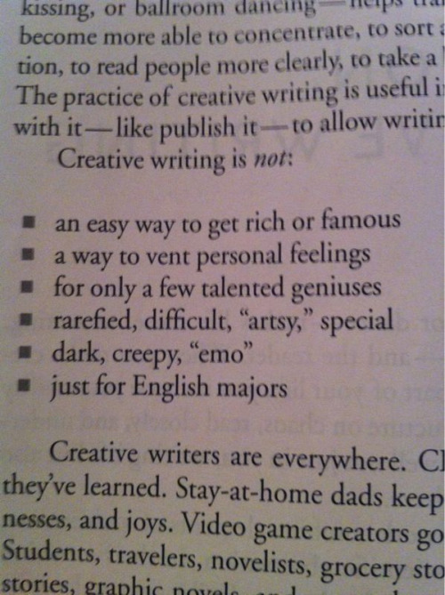 "ericknyc:  ""Creative Writing is not: Emo"""