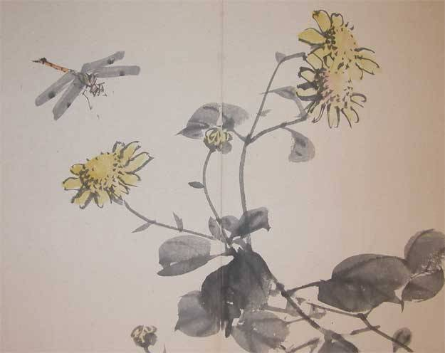 Chrysanthemum and Dragonfly