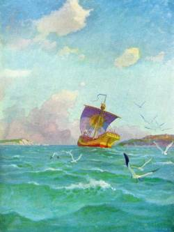 "N. C. Wyeth, ""The Sailing of the Yellow Cog"" (1922)"