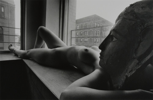 Laying Woman with Statue's Head  by  Lucien Clergue *