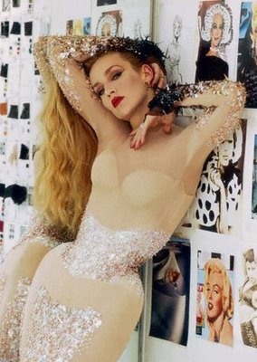 "Jerry Hall as the fit model in the Thierry Mugler atelier while making the iconic ""Angel"" dress…"