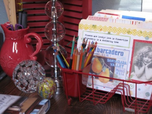 crumpledenvelope:  A dish drainer for a filing system?!?  Who knew?  Love it! garden room - eclectic - home office - - by Cozy Little House