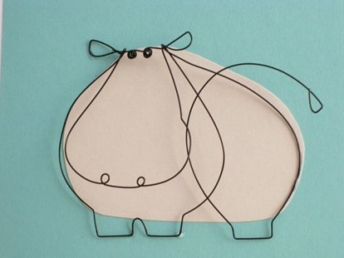 Wire hippo card - Foldhere