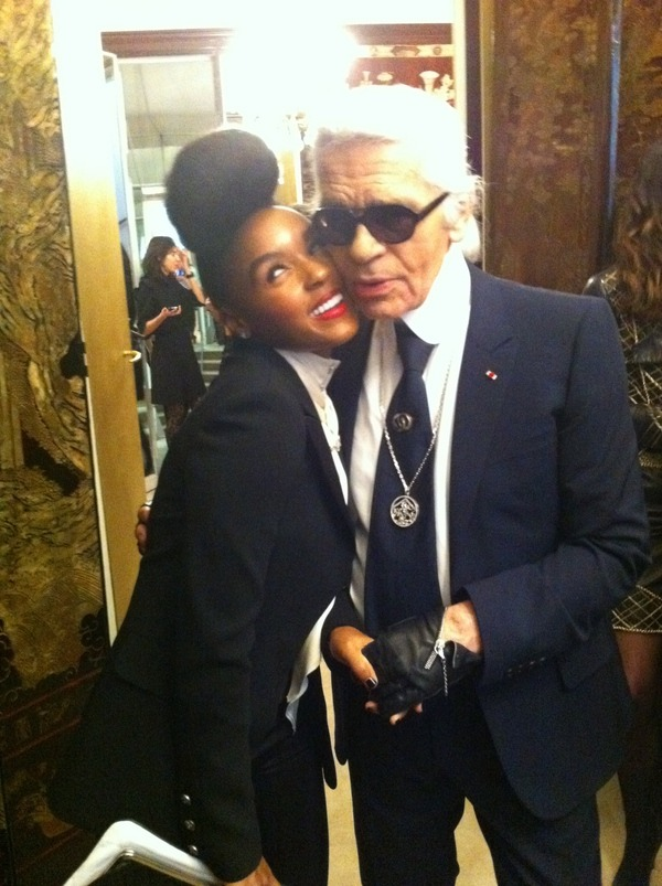 Janelle Monae and Karl Lagerfeld