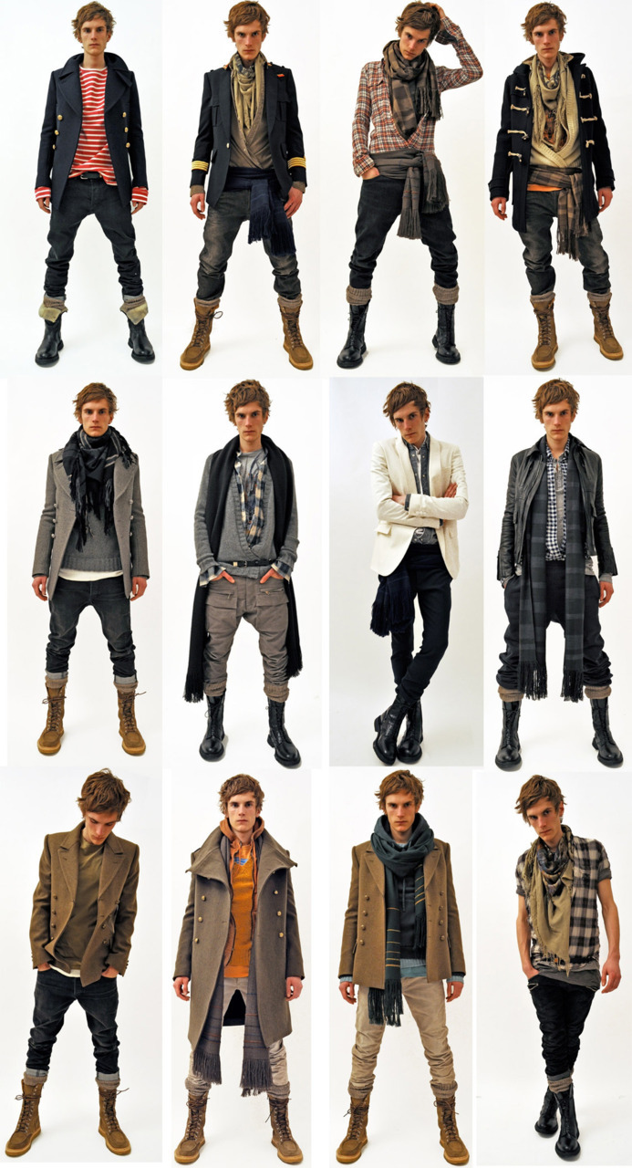 poupon:  thetreasurehunter:  Balmain Men Autumn Winter 2011.OMG, I want it all!   well now I'm reasonably sure I know what hobo-sailor-lumberjack-WASP Michael Cera as Scott Pilgrim would look like  Michael Cera as Scott Pilgrim had a son with Conner from Assassin's creed 3 and that Son grew up to listen to Mumford and Sons. I want all of those outfits even though I don't have enough swag for any of them.