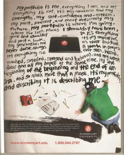 "manengmaneys:  PORTFOLIO  I love this Ad. So true. :) ""Its my Porfolio, and describing it is describing me."""