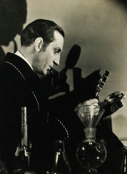 "Basil Rathbone in publicity still for The Hound of the Baskervilles (1939, dir. Sidney Lanfield) ""Like all other arts, the science of deduction and analysis is one which can only be acquired by long and patient study, nor is life long enough to allow any mortal to attain the highest possible perfection in it. Before turning to those moral and mental aspects of the matter which present the greatest difficulties, let the inquirer begin by mastering more elementary problems.  Let him, on meeting a fellow-mortal, learn at a glance to distinguish the history of man, and the trade or profession to which he belongs. Puerile as such an exercise may seem, it sharpens the faculties of observation, and teaches one where to look and what to look for."" -Arthur Conan Doyle, A Study in Scarlet (1887)"