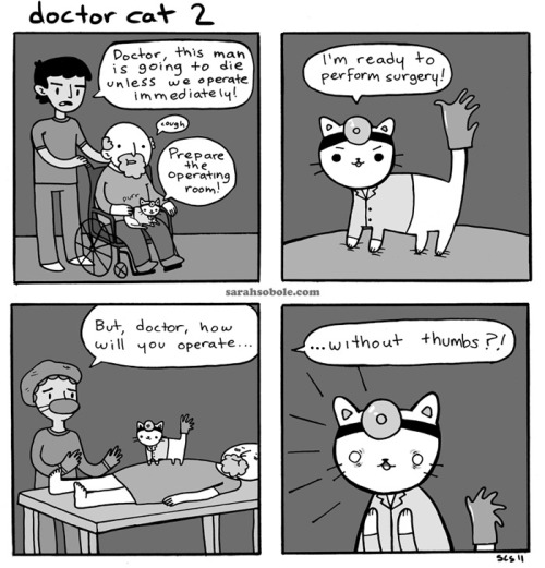 Doctor Cat Part 2: Doctor Cat's horrible secret is revealed, and a man's life is on the line!…this is the first comic in an ongoing storyline. Stay tuned to see what happens next. :3Stuff of interest: My art on Facebook Doctor Cat on Facebook Totally cute voiceover of the first Doctor Cat comic, by NikkiLangleyKora on Youtube.