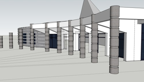 Newest update. Massing model of Automotive Hall of Fame almost complete. Just a few more items. Then I am complete for the client and on to exterior rendering for the purpose of refining my own skills.